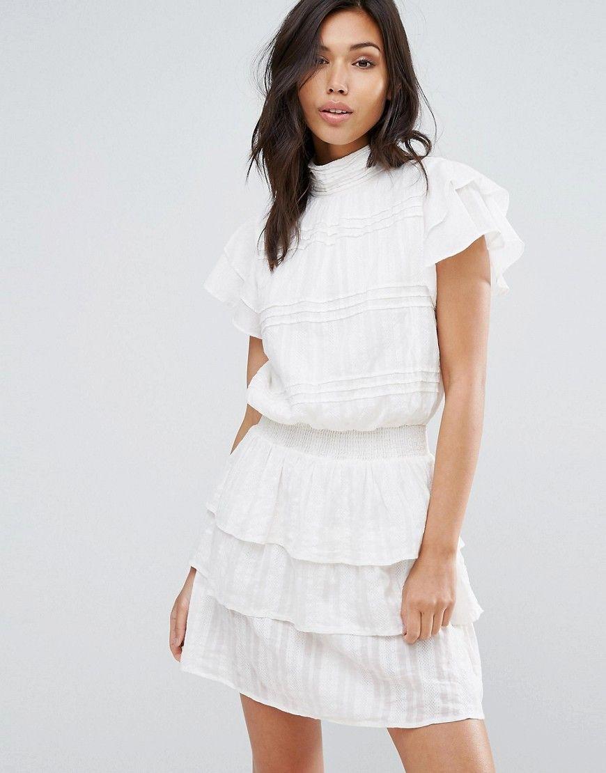 vero moda - hochgeschlossenes kleid mit rüschen - weiß jetzt