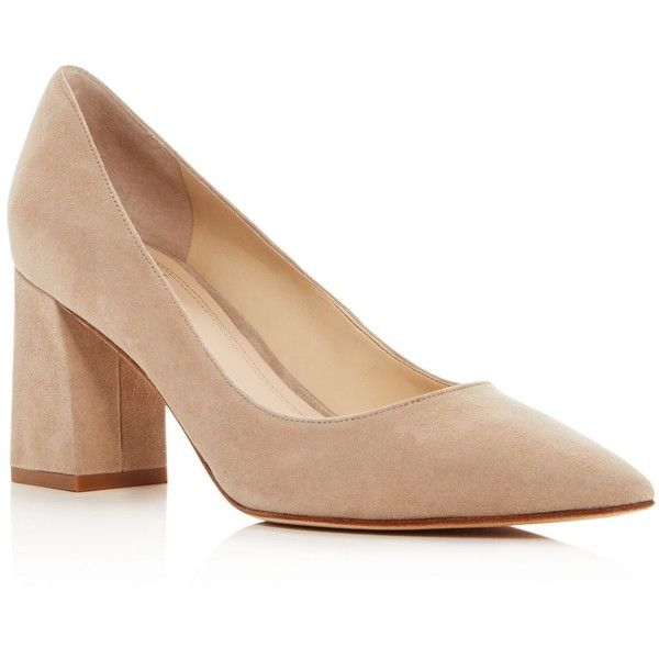 Marc Fisher Ltd. Zala Pointed Toe Block Heel Pumps (655 ILS) ❤ liked on Polyvore featuring shoes, pumps, tan, suede leather shoes, tan shoes, pointy toe shoes, tan suede pumps and tan pumps