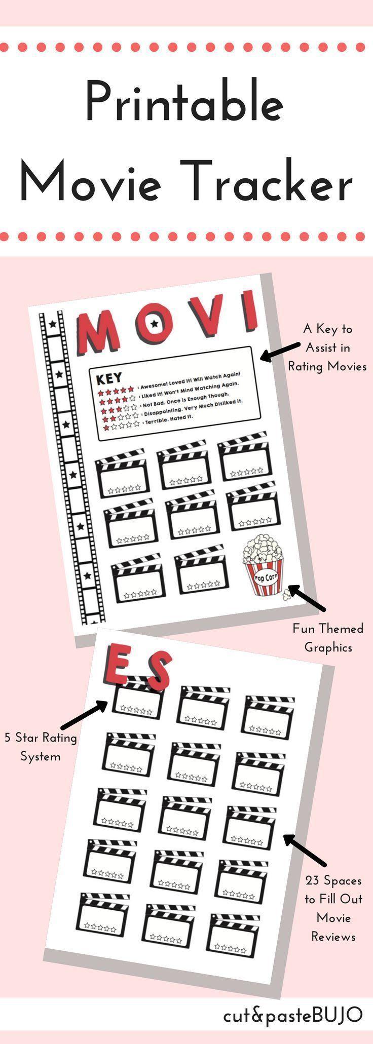 DRUCKBARE FILM TRACKER Movie Tracker Bullet Journal