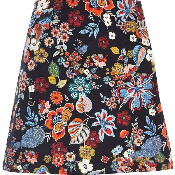 River Island Blue floral print pelmet skirt ($39) via Polyvore featuring skirts, tall skirts, floral printed skirt, floral print skirt, flower print skirt and floral skirt