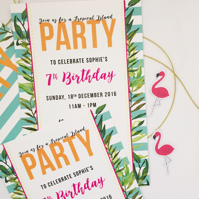 Tropical Hawaiian Themed Pool Party invitations - Flamingo Themed ...