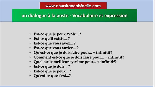 Un Dialogue A La Poste Vocabulaire Et Expression Vocabulaire Vocabulaire Francais Apprentissage De La Langue Francaise