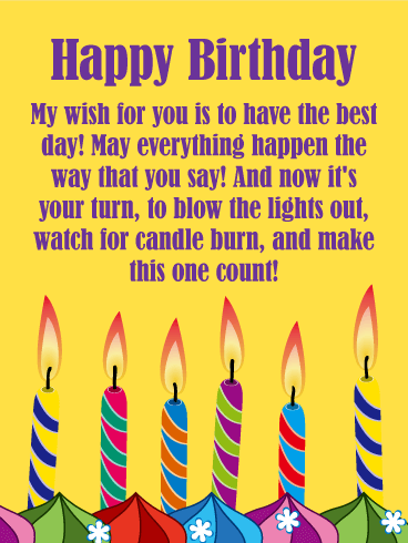 Make A Wish Candles Happy Birthday Card For Everyone Wishing You