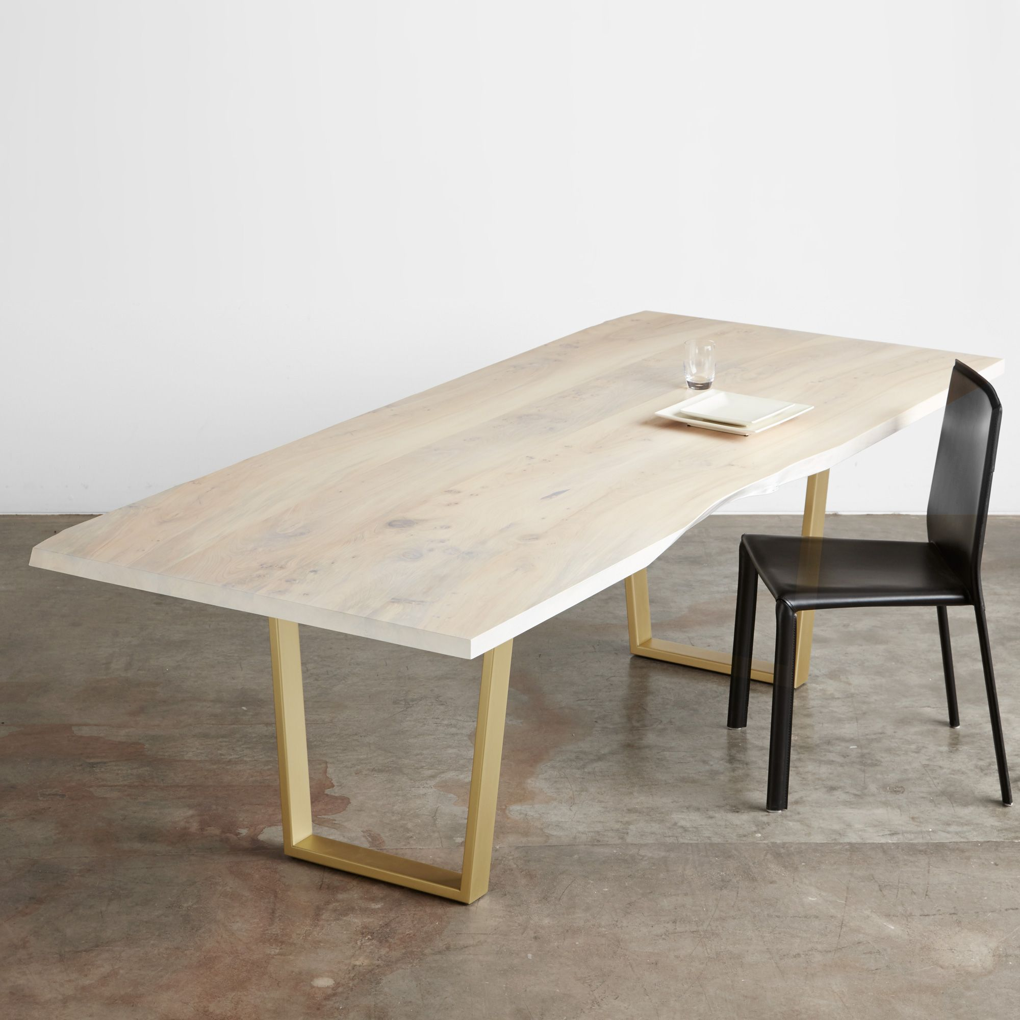 White washed salvaged American elm table with satin brass sled