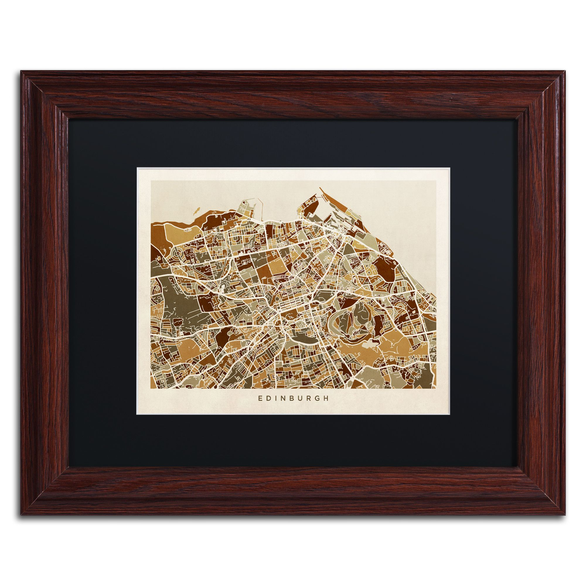 michael tompsett edinburgh street map ii matte wood framed canvas - Wood Frames For Canvas
