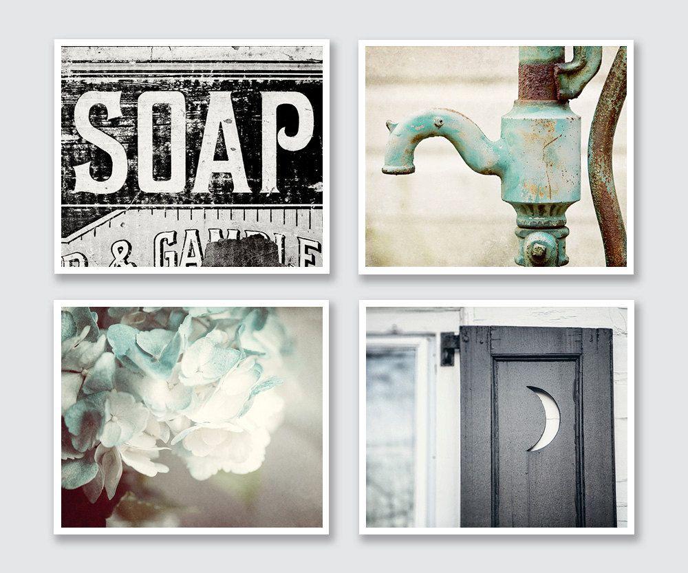 rustic bathroom decor set of 4 prints or canvas art, bathroom art