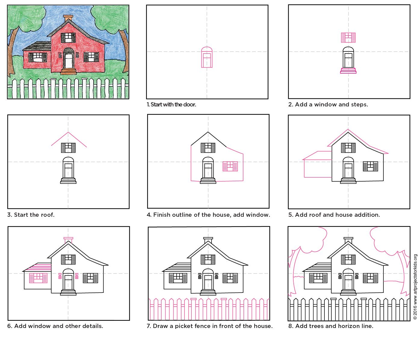 Draw a country house country houses drawings and art lessons draw a country house pdf tutorial available pooptronica Image collections