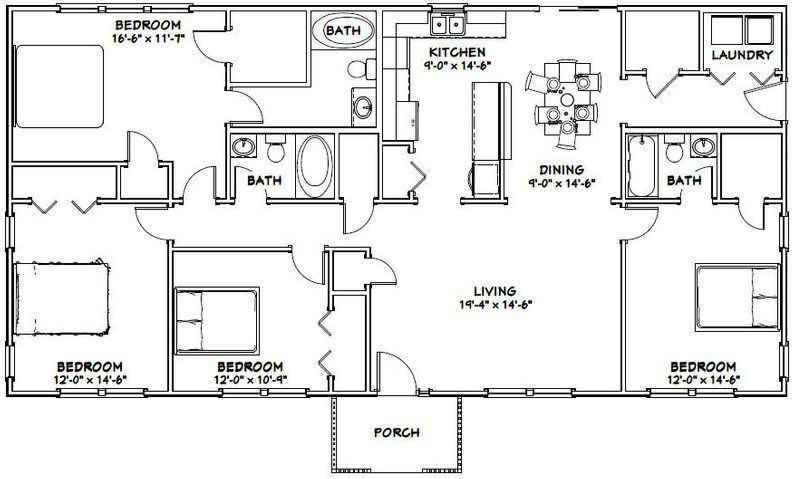 60x30 House 4 Bedroom 3 Bath 1 800 Sq Ft Pdf Floor Plan Instant Download Model 1 Metal House Plans Barndominium Floor Plans House Projects Architecture