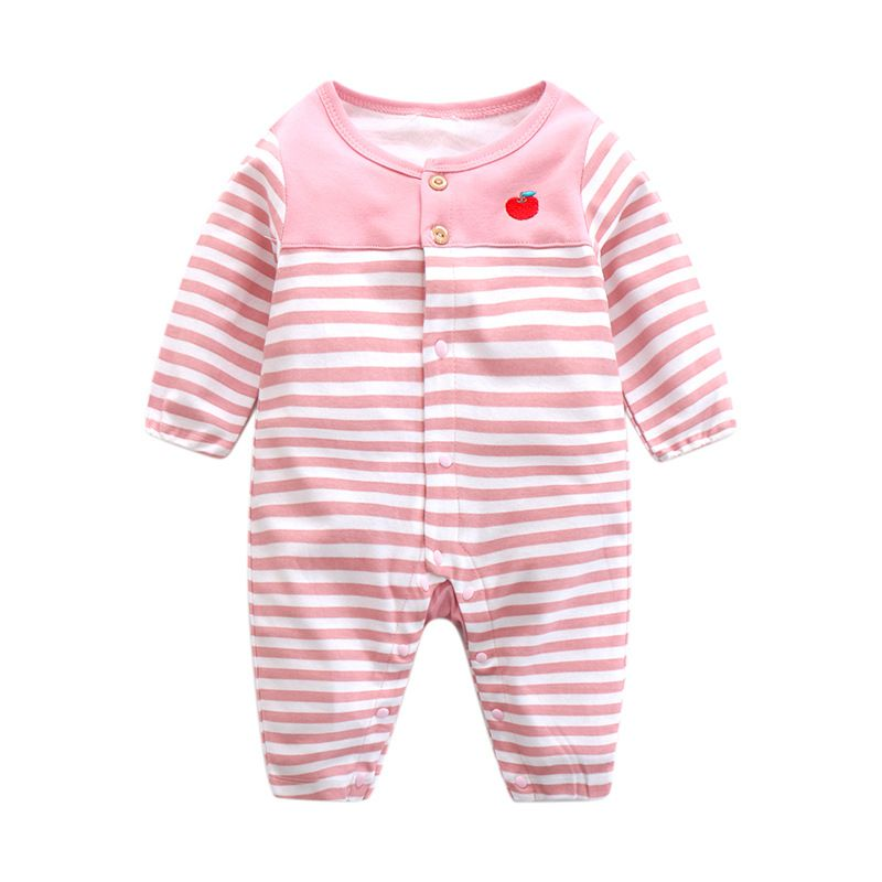 Baby Rompers Baby Girls Clothes 100% Cotton Stripe O-Neck Jumpsuit ...