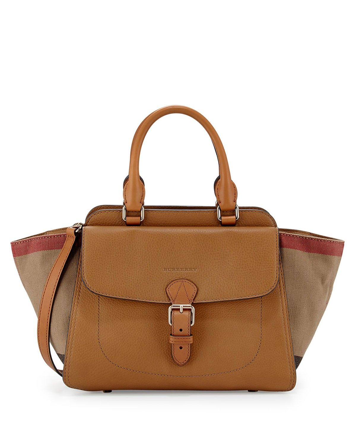 fdaf2ba7662c Burberry Brit Medium Grainy Canvas Check Satchel Bag Brown w Double Handles