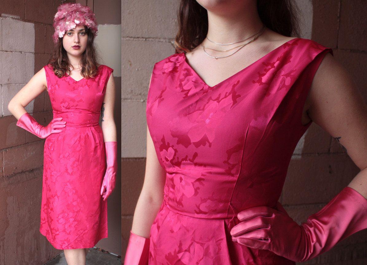 Vintage 1950\'s Dress // 50s 60s Fuchsia Pink Brocade Evening Dress ...
