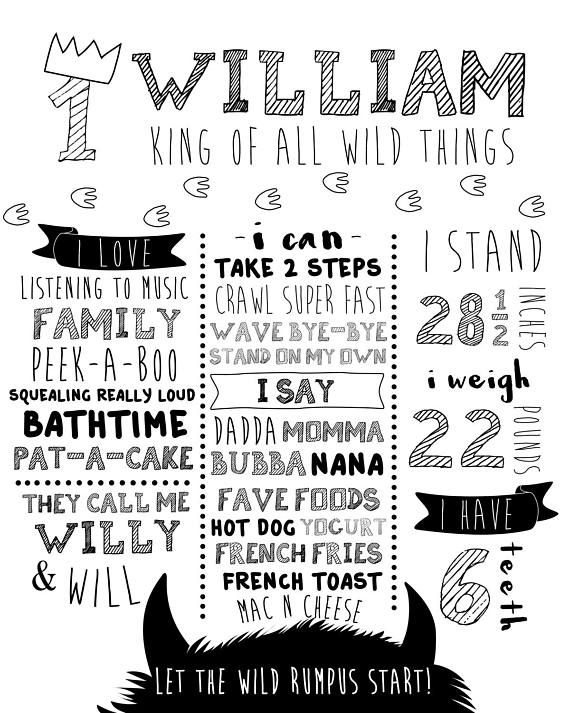 Wild One Milestone Poster Monochrome Birthday Poster Where First Birthday Posters Milestone Poster Wild Things Party