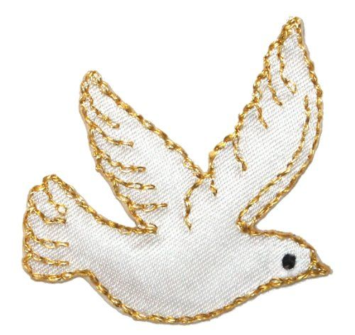 Flying Dove Peace Symbol Patch Pacifism /& Nonviolence White Iron On Applique