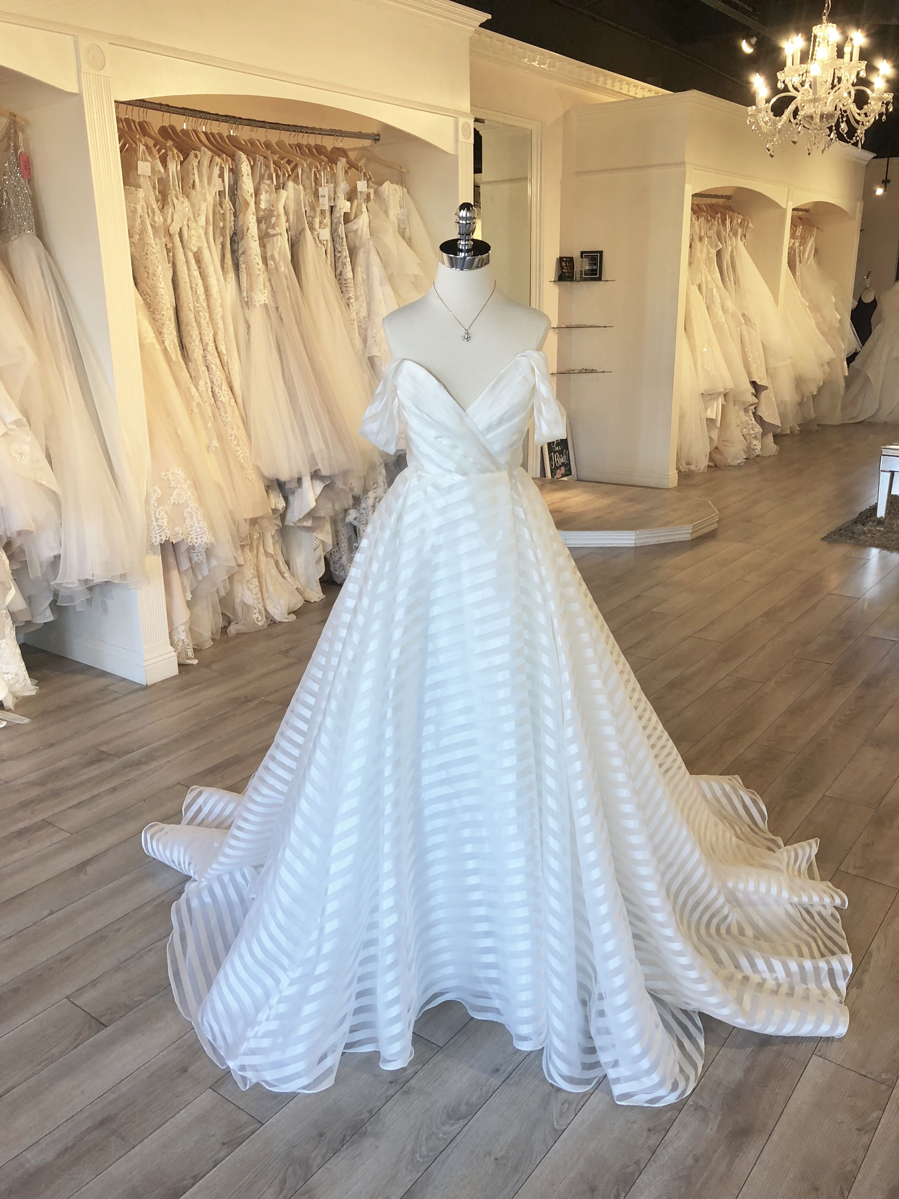 "cab8212aca Hayley Paige ""Harley"" Wedding Gown / Off the Shoulder Striped #weddingdress  / A-Line Ballgown with slit #weddingdresses #hayleypaige"