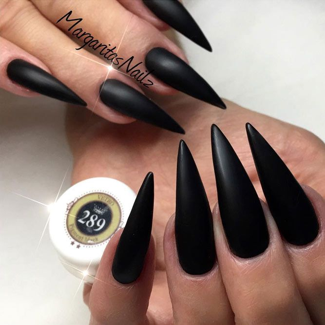 21 Fearless Combinations with Black Stiletto Nails   Black stiletto ...