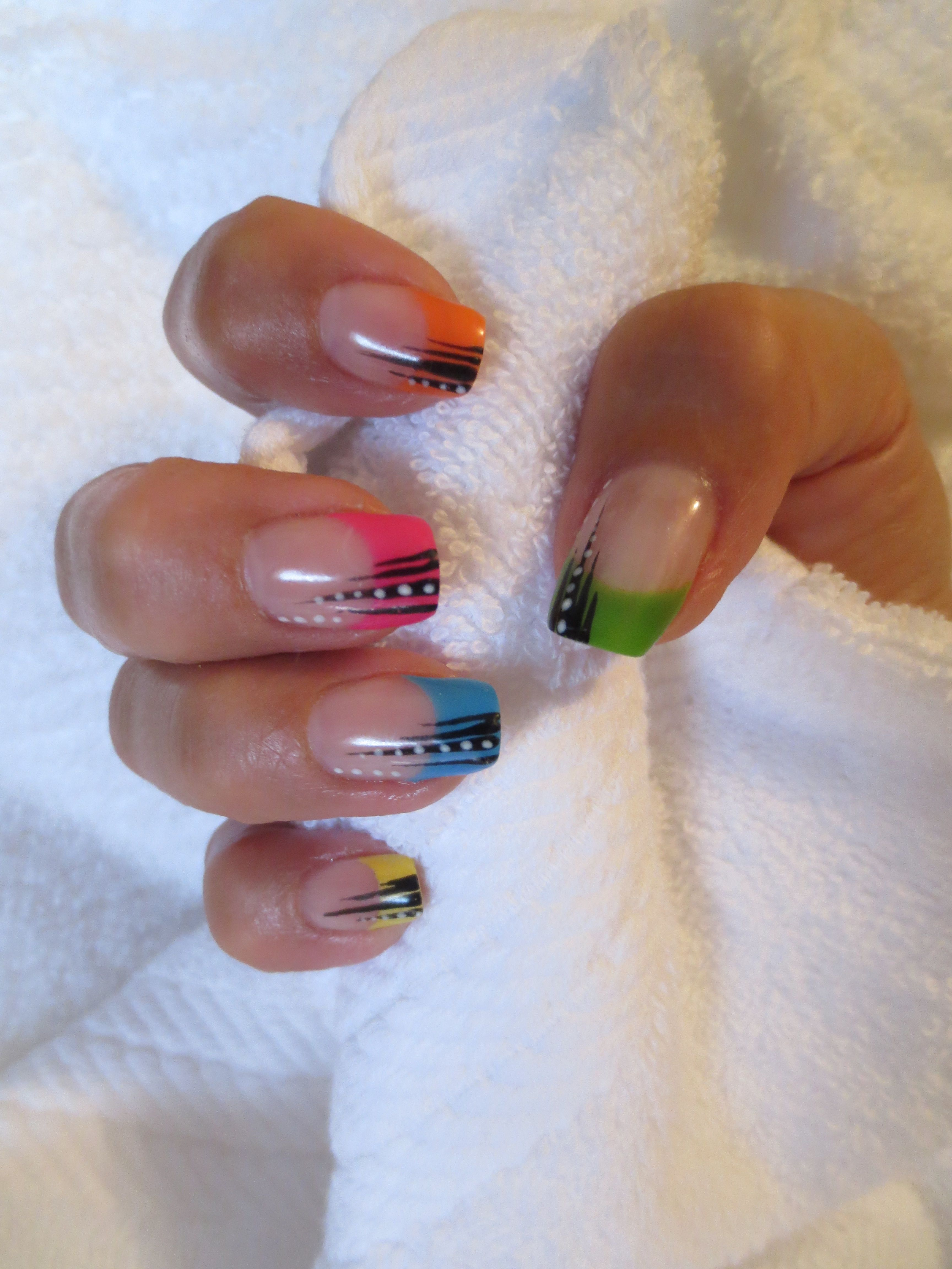 pictures of nail art designs | Neon Tips Nail Art Design by Delee ...