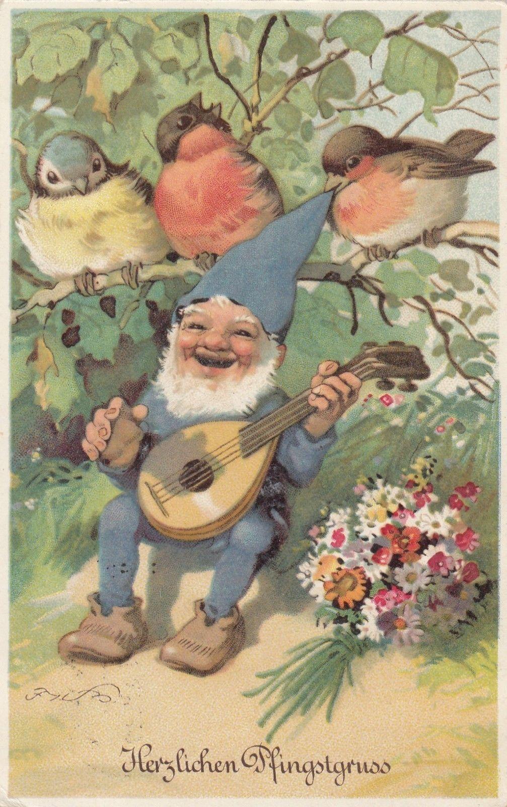 Pfingsten, Zwerg mit Mandoline, Vögel, sign. Fritz Baumgarten in Sammeln & Seltenes, Ansichtskarten, Motive   eBay