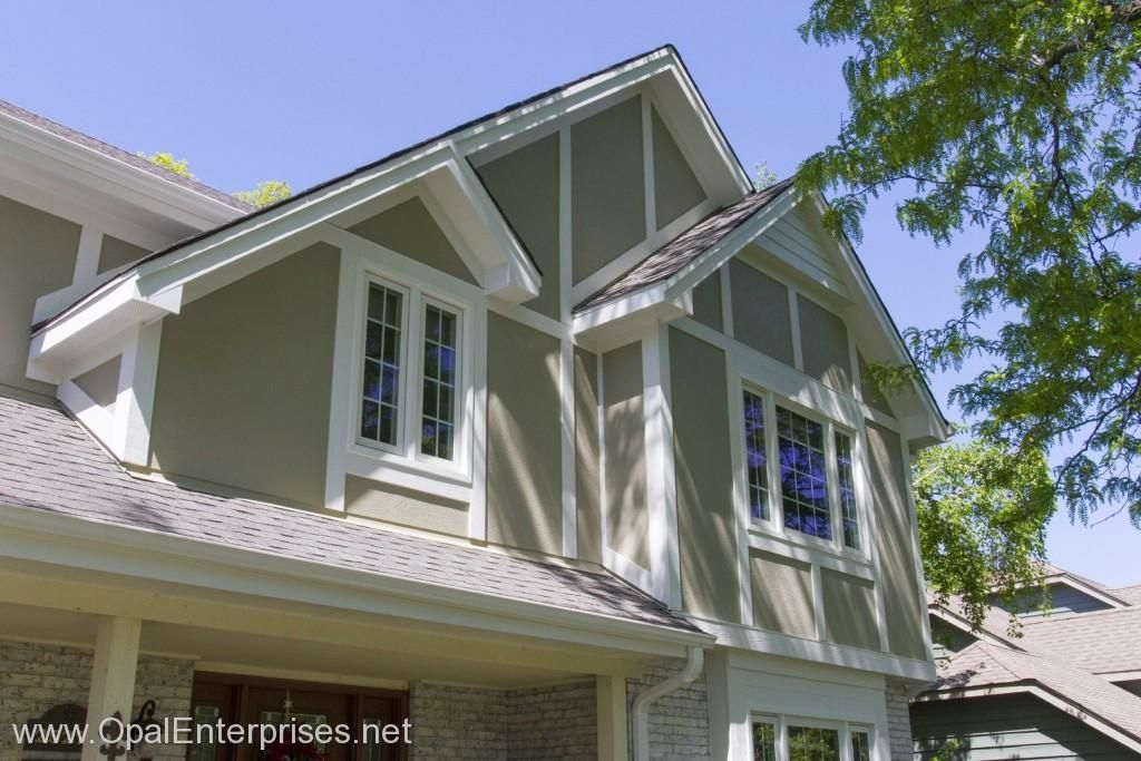 Stucco And Trim Work Using Hardie Board Opalcurbappeal Exterior House Renovation House Exterior Exterior Remodel