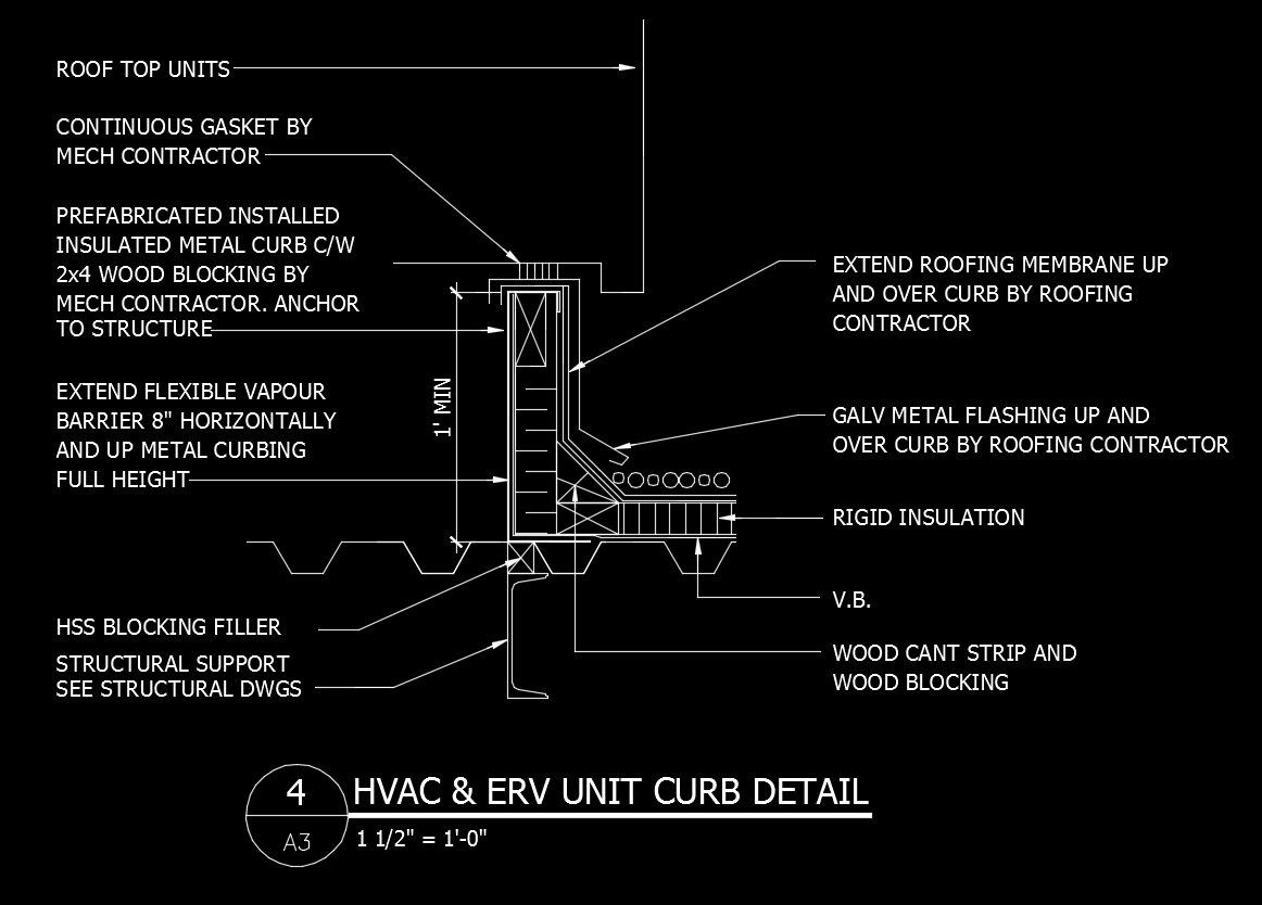 free cad details hvac erv unit curb detail cad design free cad blocks drawings details [ 1162 x 834 Pixel ]