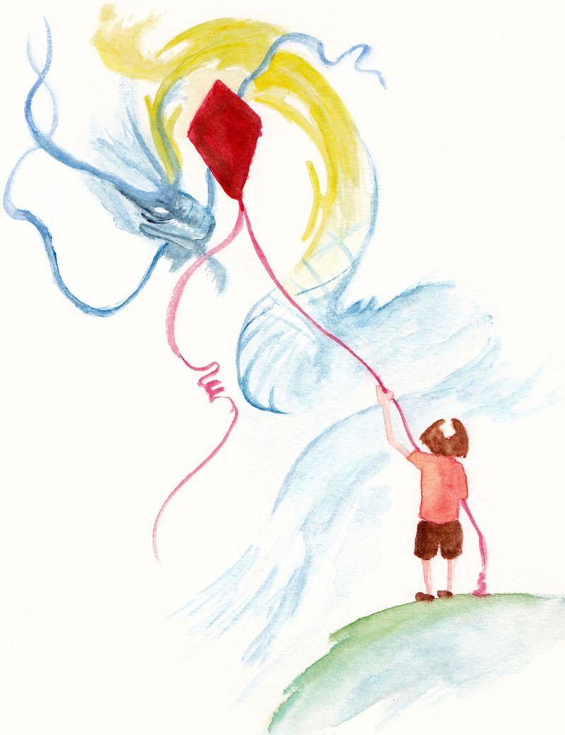 The Kite Watercolor Illustrations For Children Children