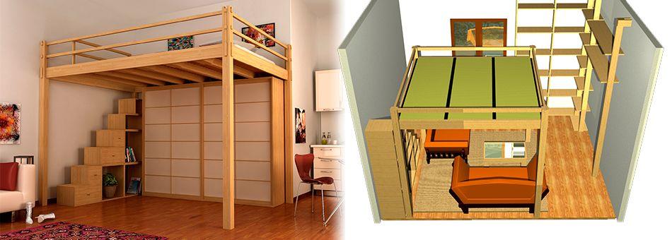 Altillos madera cama cerca amb google altillos pinterest alto camas y madera - Altillos de madera ...
