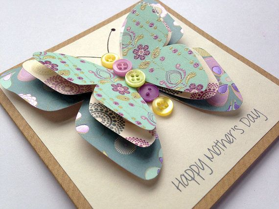 Many Designs//Colours Personalise Handmade 3d /'Butterfly/' Themed Birthday Cards