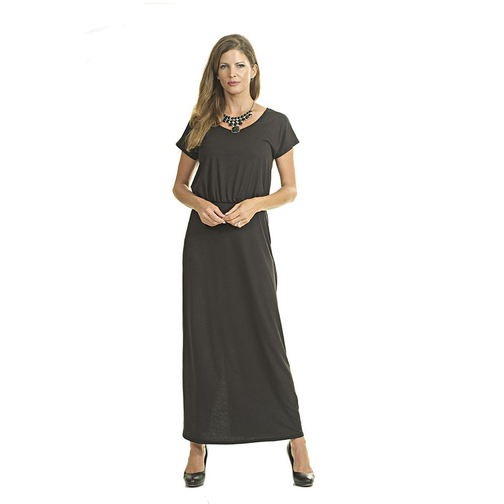 The quality soft material makes this black solid color dress from Luna West a perfect choice. Short sleeved maxi dress comes with a simple, yet trendy style. It has scoop neckline and slightly gathered waist. A perfect addition for your spring/summer coll