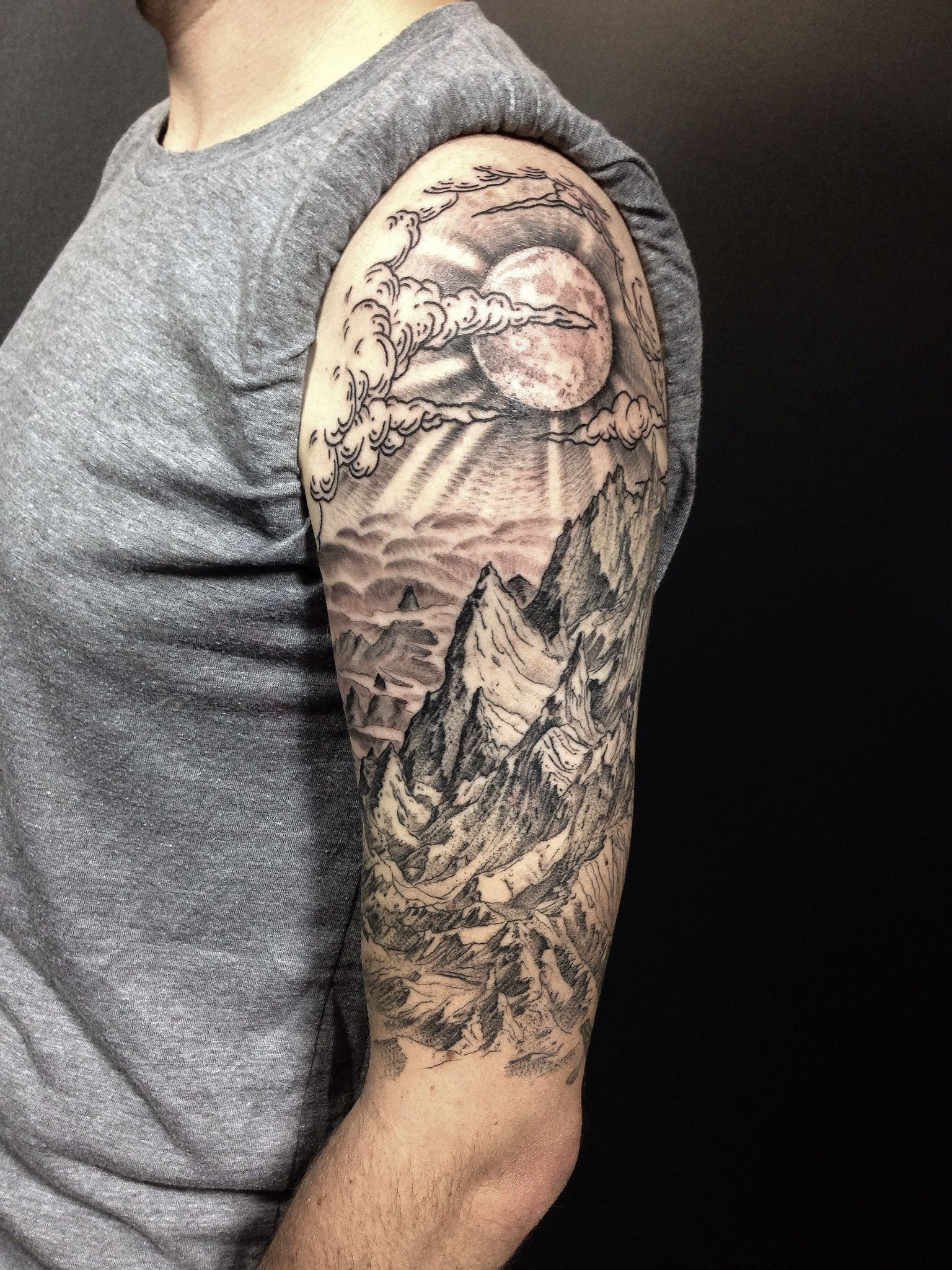 9c8d9d914 ALL DONE! completed Drew's mountain landscape half sleeve in only three  sessions. very happy with how it turned out! | Flickr - Photo Sharing!