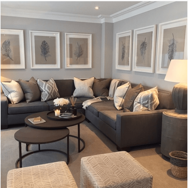 How To Decorate Above A Corner Sectional Sofa 3 Simple Pretty Ideas Color Palette Living Room Living Room Color Schemes Brown Couch Living Room