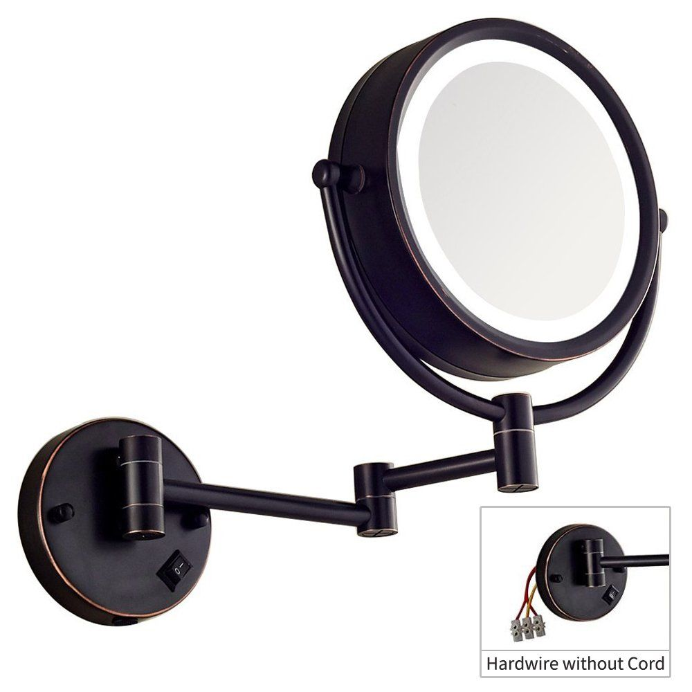 Dowry Makeup Mirror Wall Mount Lighted With 10x Magnification Direct Wire 8inch Cordless Not Batteries Operated Oil Rubbed Bronze In 2020 Wall Mounted Makeup Mirror Wall Mounted Light Makeup Mirror
