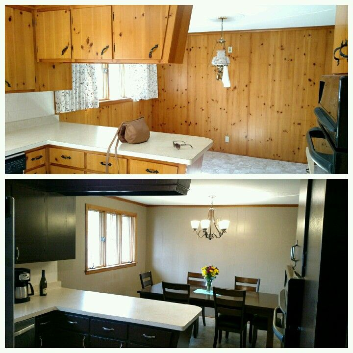 Knotted Oak Kitchen Cabinets: Before And After, Painting Our Knotty Pine!!