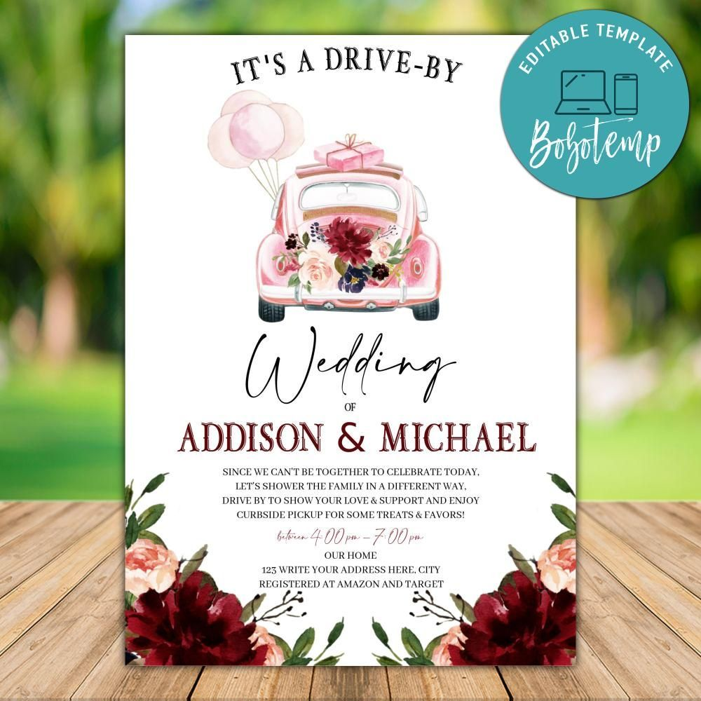 Printable Drive By Wedding Invitation Instant Download Bridal Shower Invitations Diy Bridal Shower Invitations Free Bridal Shower Invitations Printable