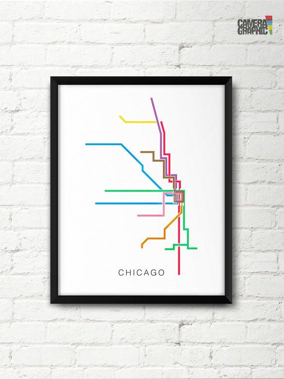 Subway Map Graphic Design.Chicago Transit Map Poster L Train Lines Subway Map Print