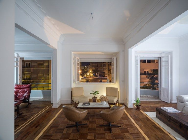 Ifub uncovers parquet flooring in 1930s art deco apartment interiors pinterest dezeen apartments and interiors
