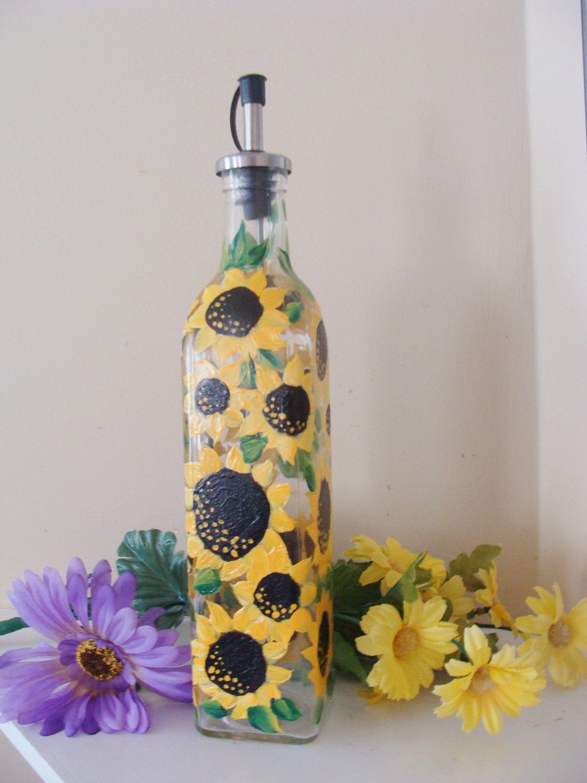 Sunflower Oil Bottle, Soap Dispenser, Sunflowers , Autumn dish ware, Fall Decor, Hand Painted Bottle, Thanksgiving Serving Dish #dishware