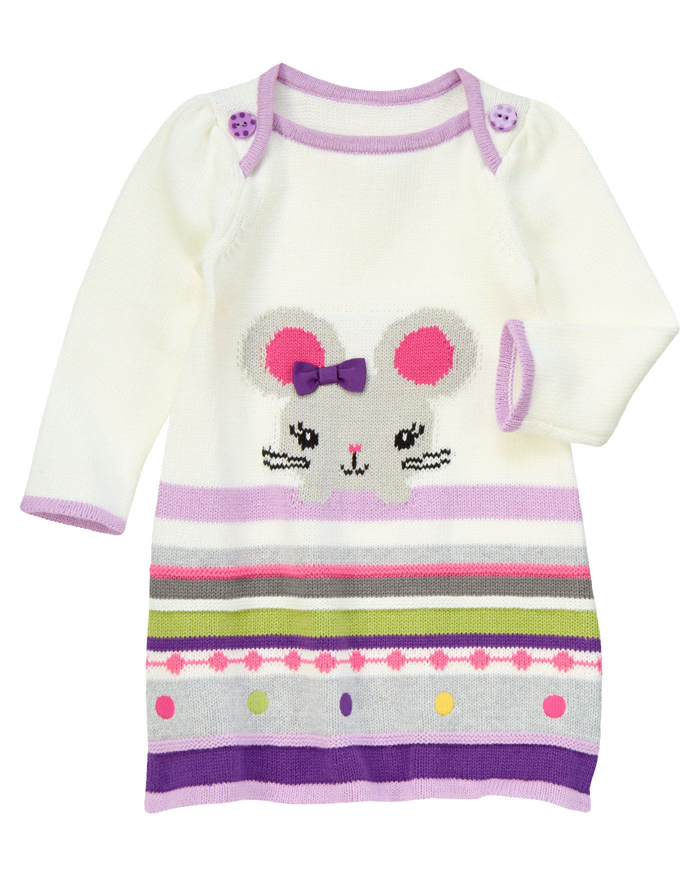 8df98f9ab7ba Soft sweater dress is brightened up with Fair Isle design and a sweet  little mouse.