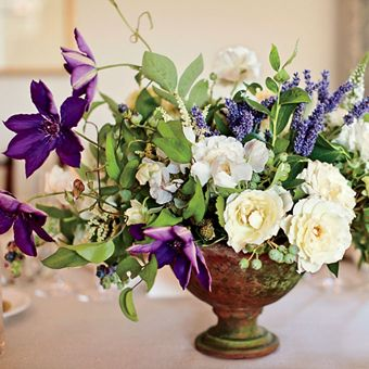 White and Purple Floral Centerpieces with Garden Roses, Clemateses, and Lavender