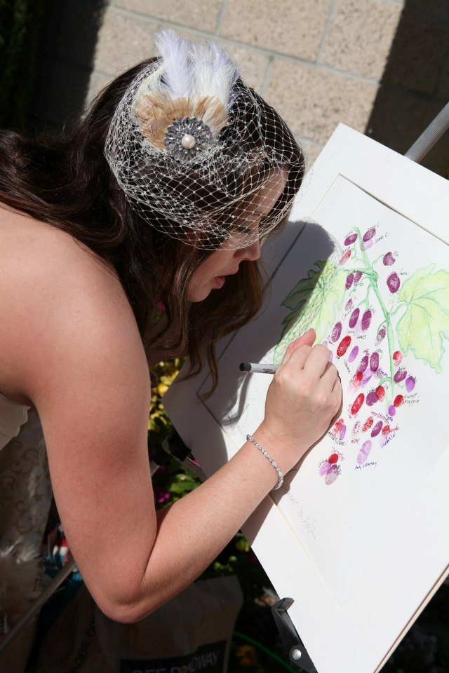 thumbprint grapes wedding guestbook for a winery wedding