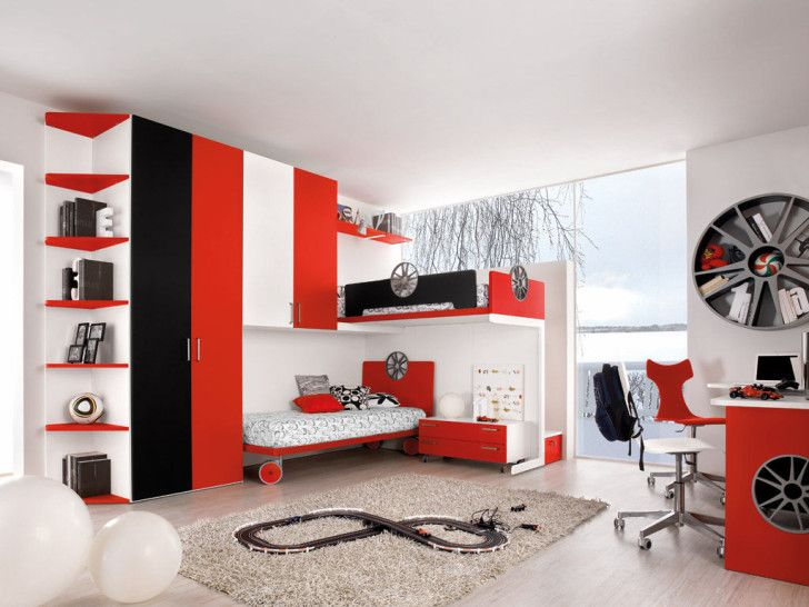 Kids Room Designs, Boyish Sports Themed For Boys Room White Red ...