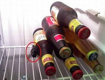 How to stack bottles in your fridge. Space saver!
