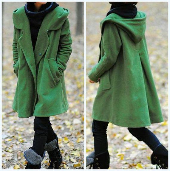 grass green Hoodie Wool cape winter coat. $109.00, via Etsy.