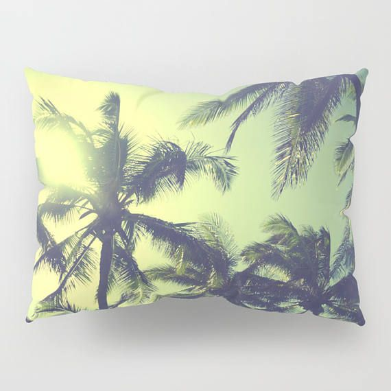 Decorative King Pillow Shams.Vintage Hawaiian Palms Pillow Shams Standart Set Of 2 King