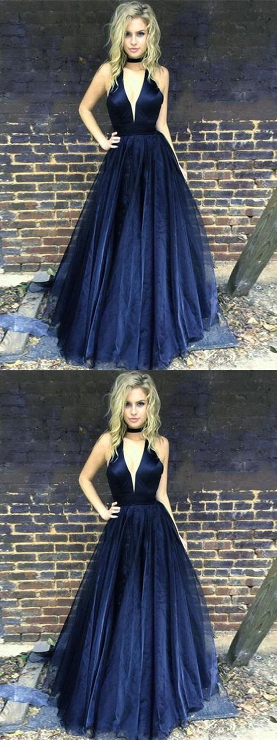 Dark navy prom dress aline halter cheap simple long prom dress