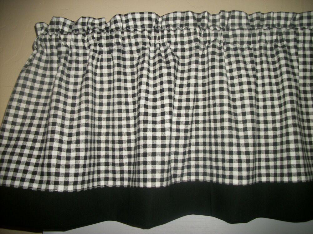 Black white checks checked farmhouse trim fabric window