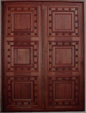 Rustic Double Panel Doors With Wood Decorative Nails R2415 Double Front Entry Doors Custom Wood Doors Wooden Main Door Design
