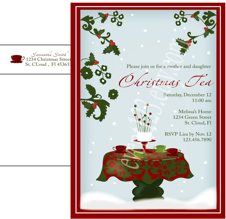 Christmas tea invitation 150 via etsy christmas holiday tea items similar to digital file christmas tea invitation holiday party invitation custom colors and text on etsy monicamarmolfo Image collections