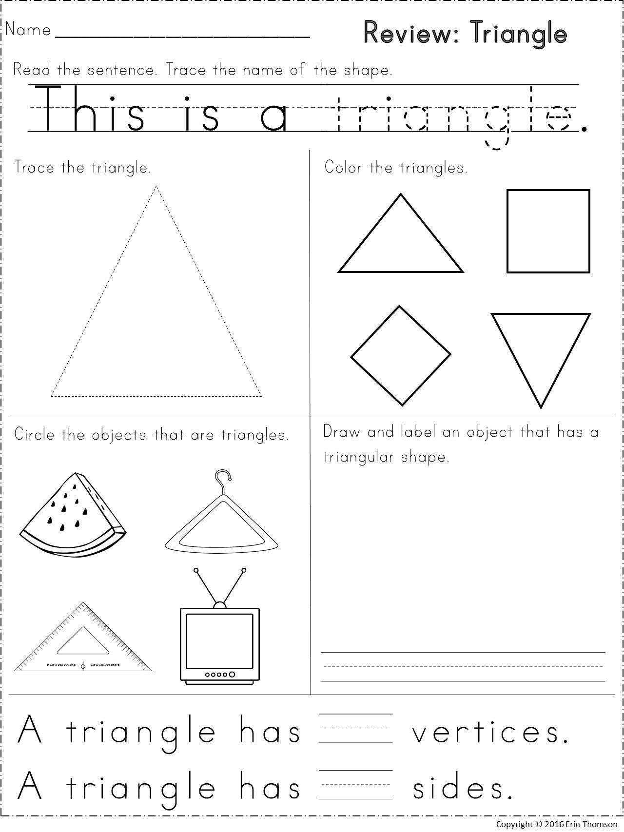 Triangle Worksheet For Kindergarten Kindergarten Math
