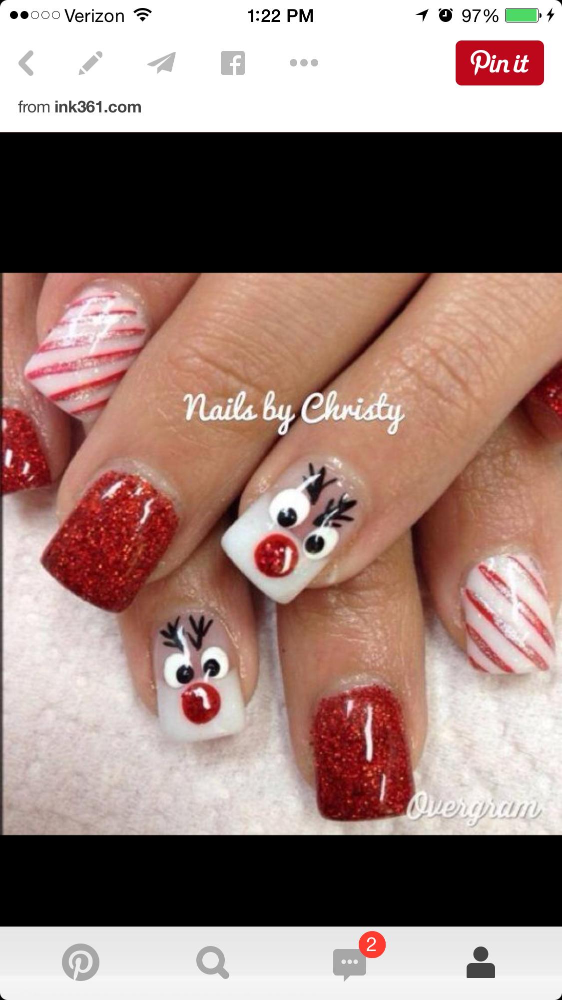 Pin von Kim Parker auf Nail designs | Pinterest | weihnachtliches ...