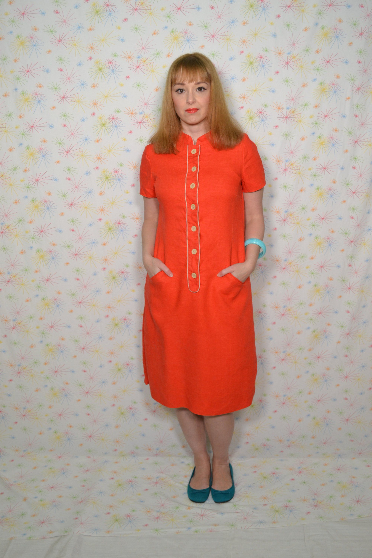 60s Orange Linen Dress Mandarin Collar Size Small Mod Etsy 1960s Shift Dress Plus Size Vintage Clothing Linen Dress [ 3000 x 2000 Pixel ]