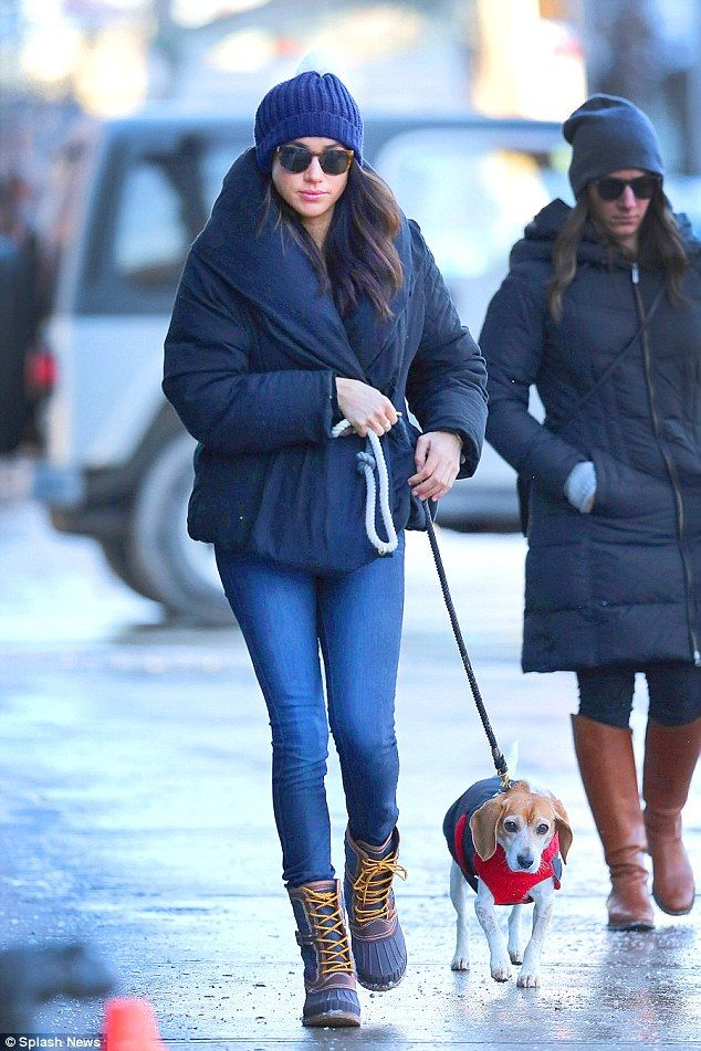 Meghan Markle Wraps Up As She Takes Her Dog Bogart To The